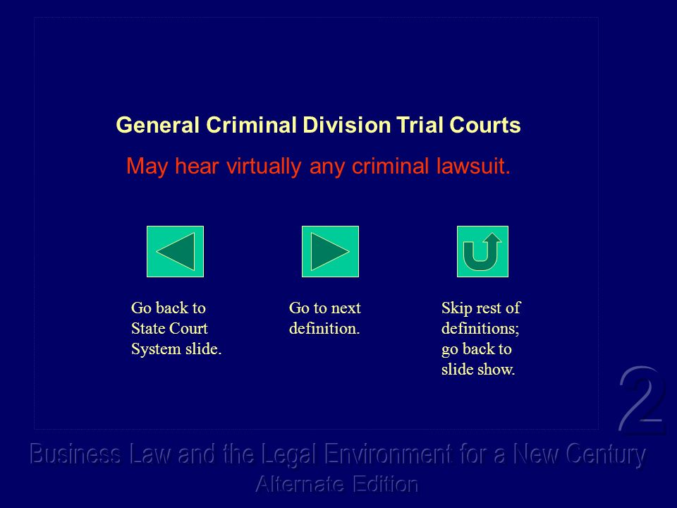 General Criminal Division Trial Courts May hear virtually any criminal lawsuit. Go back to State Court System slide. Go to next definition. Skip rest