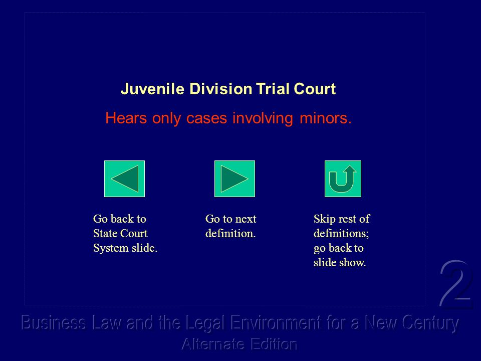 Juvenile Division Trial Court Hears only cases involving minors. Go back to State Court System slide. Go to next definition. Skip rest of definitions;