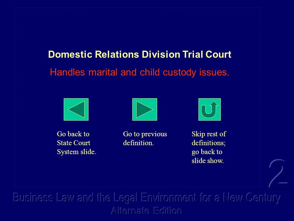 Domestic Relations Division Trial Court Handles marital and child custody issues. Go back to State Court System slide. Go to previous definition. Skip