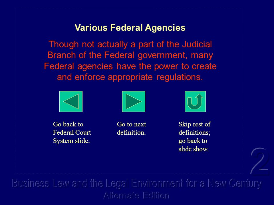 Various Federal Agencies Though not actually a part of the Judicial Branch of the Federal government, many Federal agencies have the power to create a
