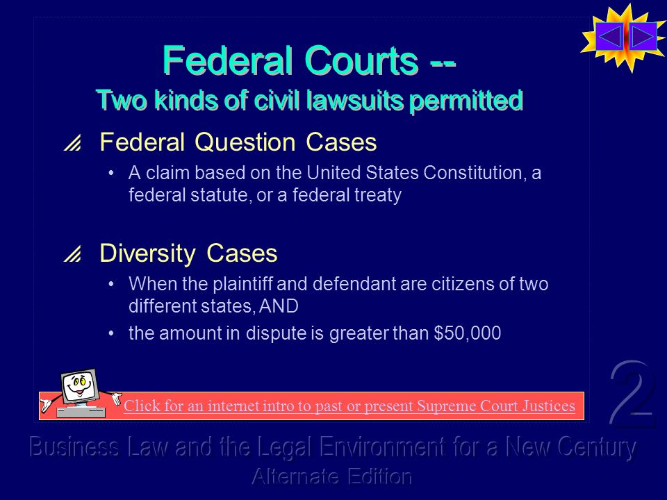 Federal Courts -- Two kinds of civil lawsuits permitted Federal Question Cases A claim based on the United States Constitution, a federal statute, or