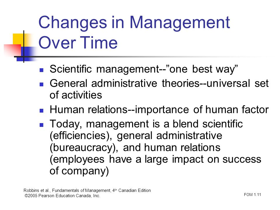 Robbins et al., Fundamentals of Management, 4 th Canadian Edition ©2005 Pearson Education Canada, Inc. FOM 1.11 Changes in Management Over Time Scient