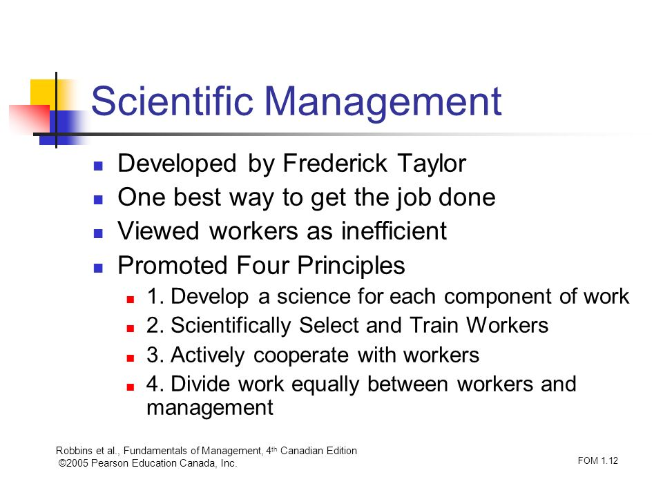 Robbins et al., Fundamentals of Management, 4 th Canadian Edition ©2005 Pearson Education Canada, Inc. FOM 1.12 Scientific Management Developed by Fre