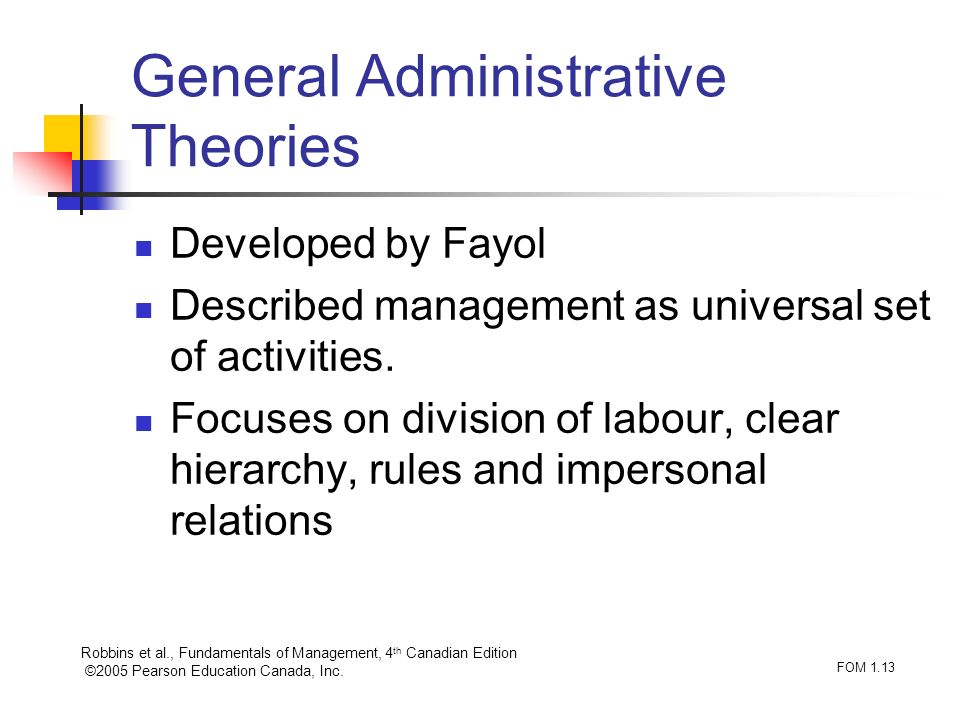 Robbins et al., Fundamentals of Management, 4 th Canadian Edition ©2005 Pearson Education Canada, Inc. FOM 1.13 General Administrative Theories Develo
