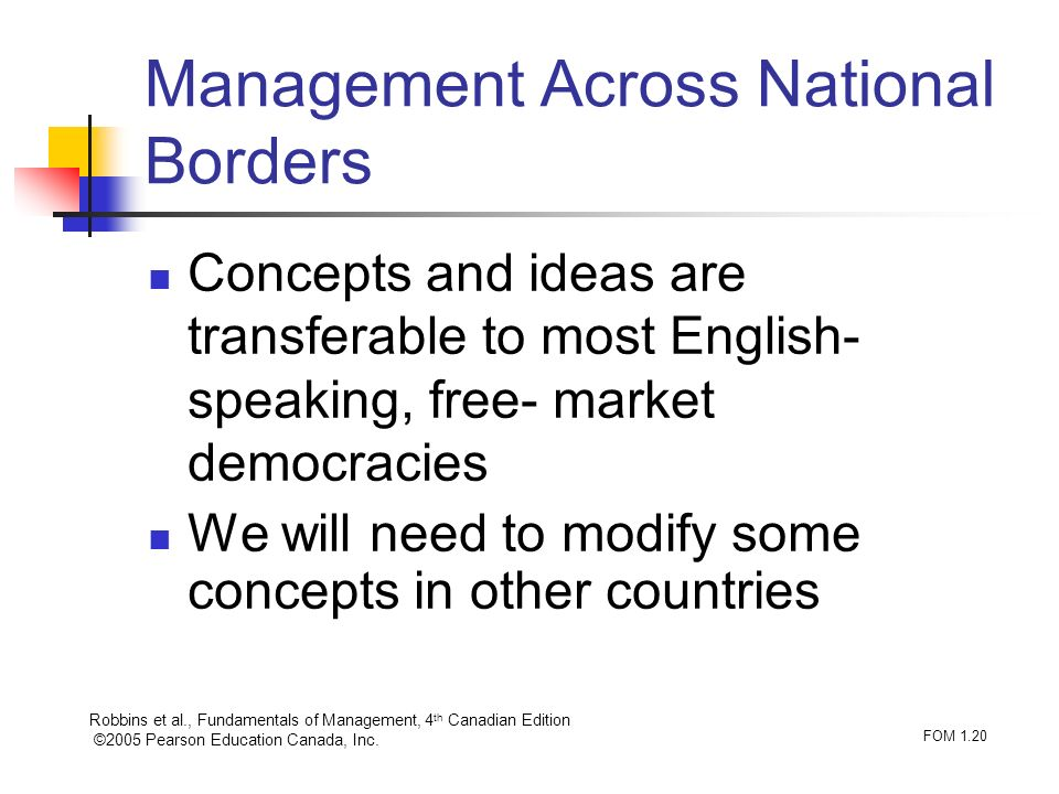 Robbins et al., Fundamentals of Management, 4 th Canadian Edition ©2005 Pearson Education Canada, Inc. FOM 1.20 Management Across National Borders Con
