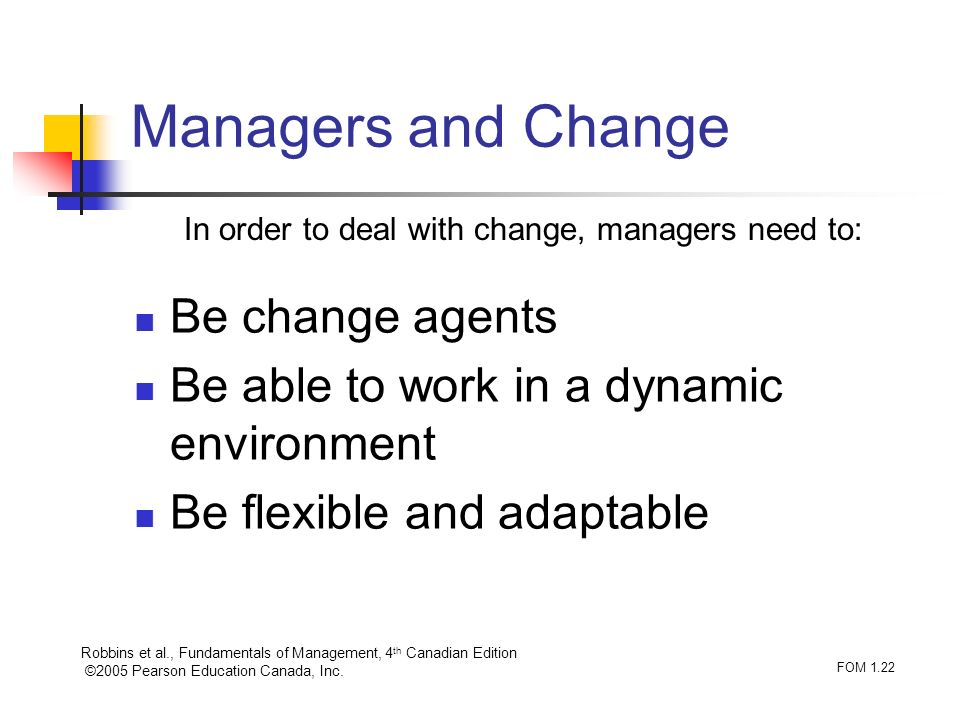 Robbins et al., Fundamentals of Management, 4 th Canadian Edition ©2005 Pearson Education Canada, Inc. FOM 1.22 Managers and Change Be change agents B