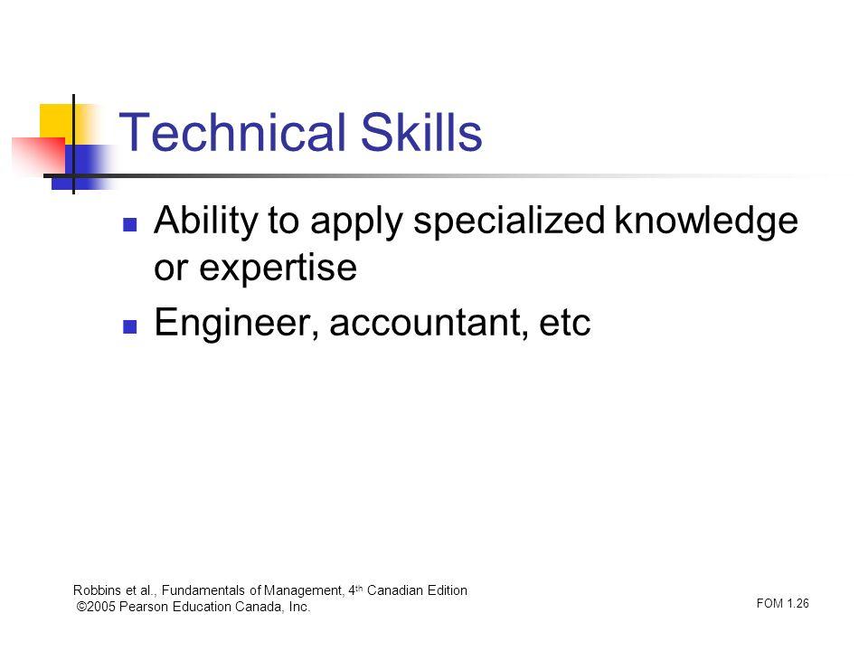 Robbins et al., Fundamentals of Management, 4 th Canadian Edition ©2005 Pearson Education Canada, Inc. FOM 1.26 Technical Skills Ability to apply spec