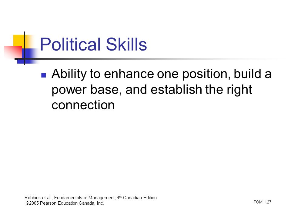 Robbins et al., Fundamentals of Management, 4 th Canadian Edition ©2005 Pearson Education Canada, Inc. FOM 1.27 Political Skills Ability to enhance on