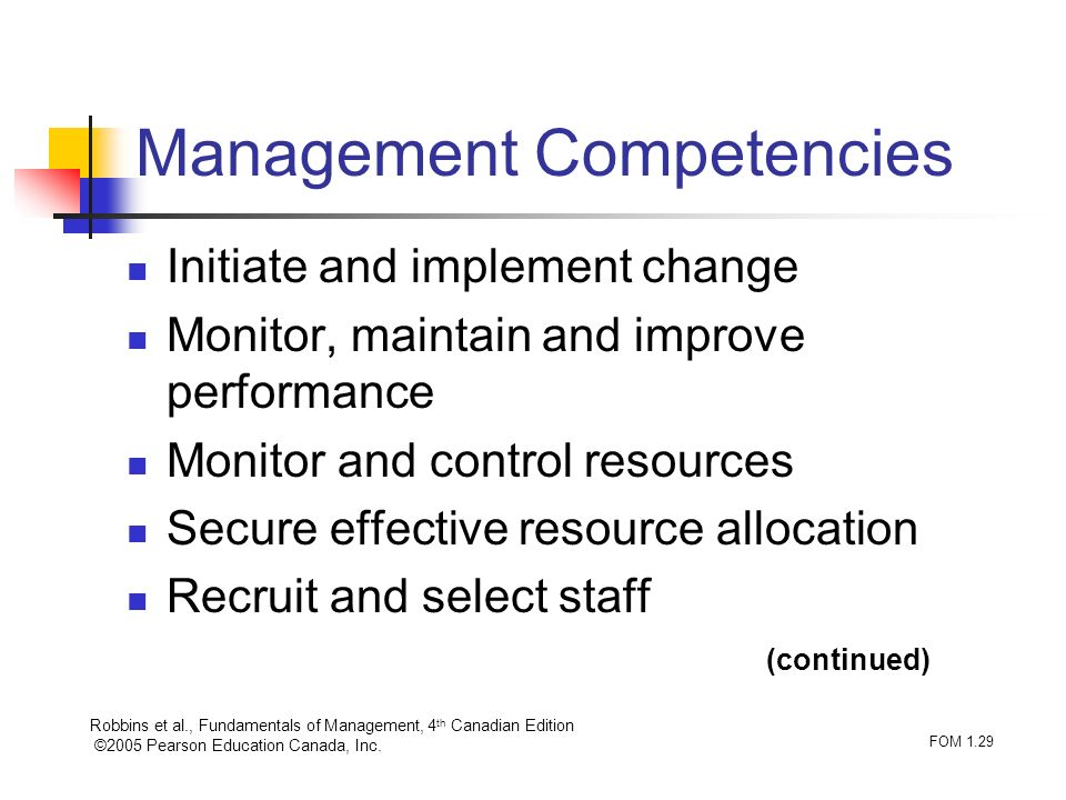 Robbins et al., Fundamentals of Management, 4 th Canadian Edition ©2005 Pearson Education Canada, Inc. FOM 1.29 Management Competencies Initiate and i