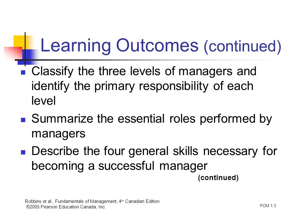 Robbins et al., Fundamentals of Management, 4 th Canadian Edition ©2005 Pearson Education Canada, Inc. FOM 1.3 Classify the three levels of managers a