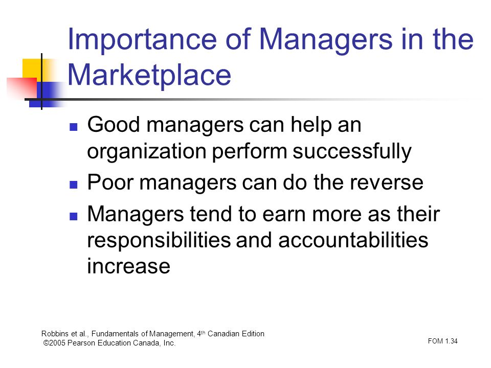 Robbins et al., Fundamentals of Management, 4 th Canadian Edition ©2005 Pearson Education Canada, Inc. FOM 1.34 Importance of Managers in the Marketpl