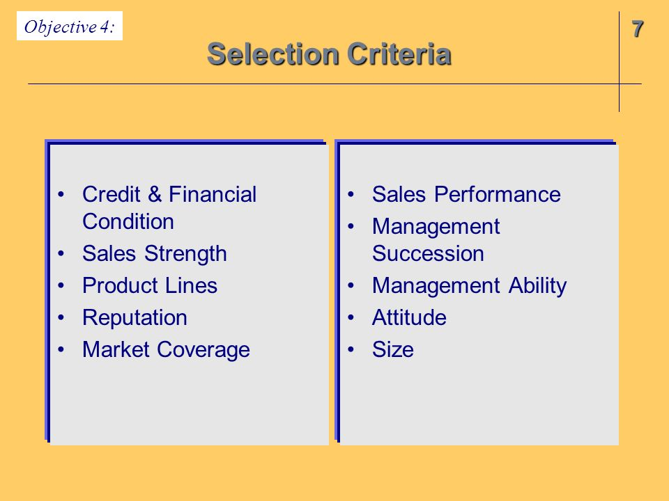 7 Selection Criteria Objective 4: Credit & Financial Condition Sales Strength Product Lines Reputation Market Coverage Sales Performance Management Succession Management Ability Attitude Size