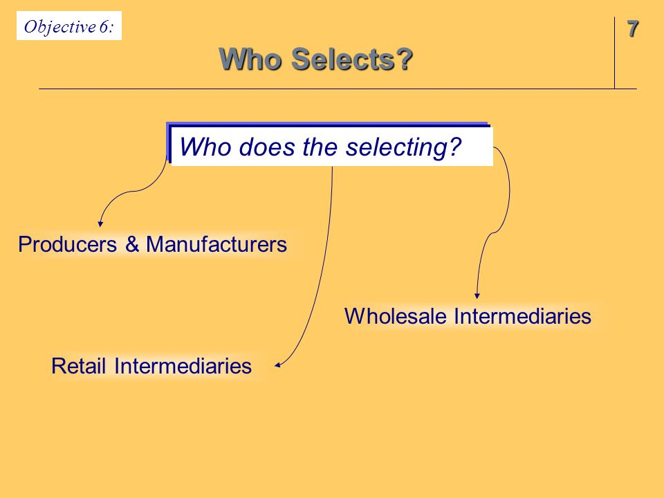 7 Who Selects.Who does the selecting.