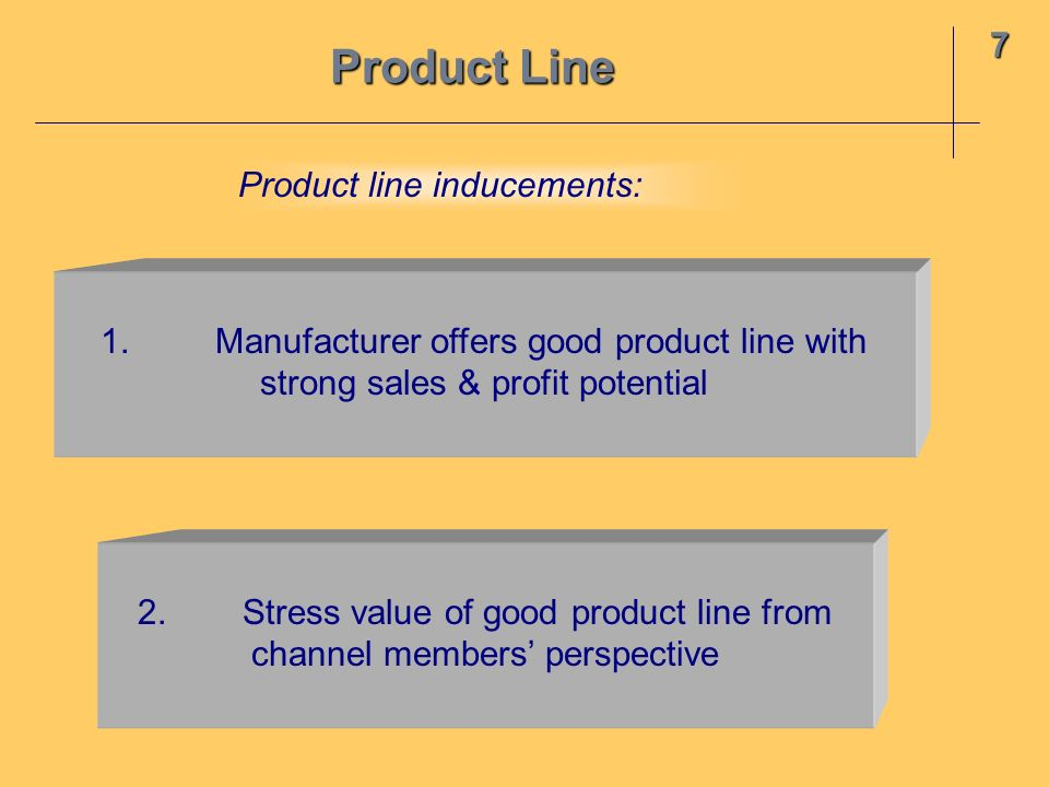 Product Line 7 Product line inducements: 1.