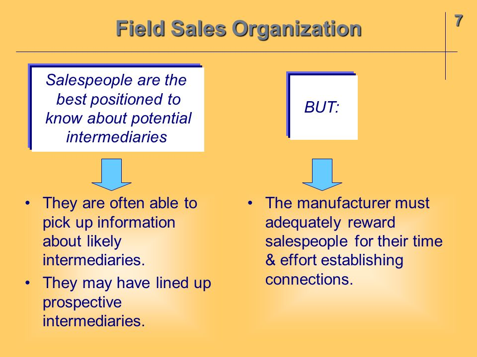 7 Field Sales Organization They are often able to pick up information about likely intermediaries. They may have lined up prospective intermediaries.