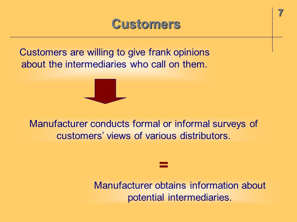 Customers7 Customers are willing to give frank opinions about the intermediaries who call on them. Manufacturer conducts formal or informal surveys of
