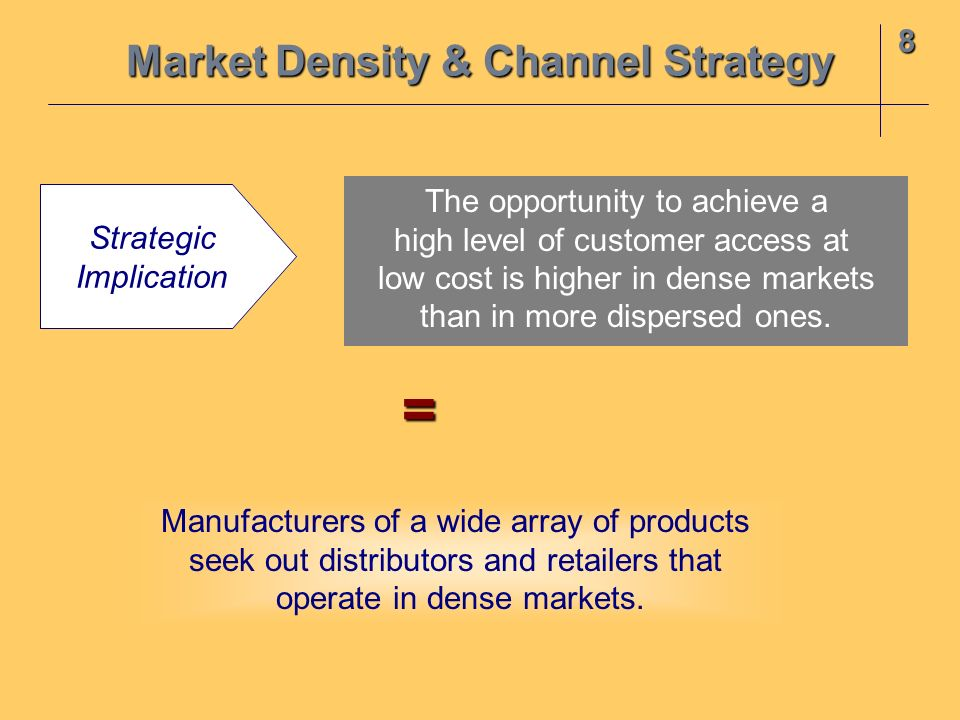8 Market Density & Channel Strategy Strategic Implication The opportunity to achieve a high level of customer access at low cost is higher in dense ma