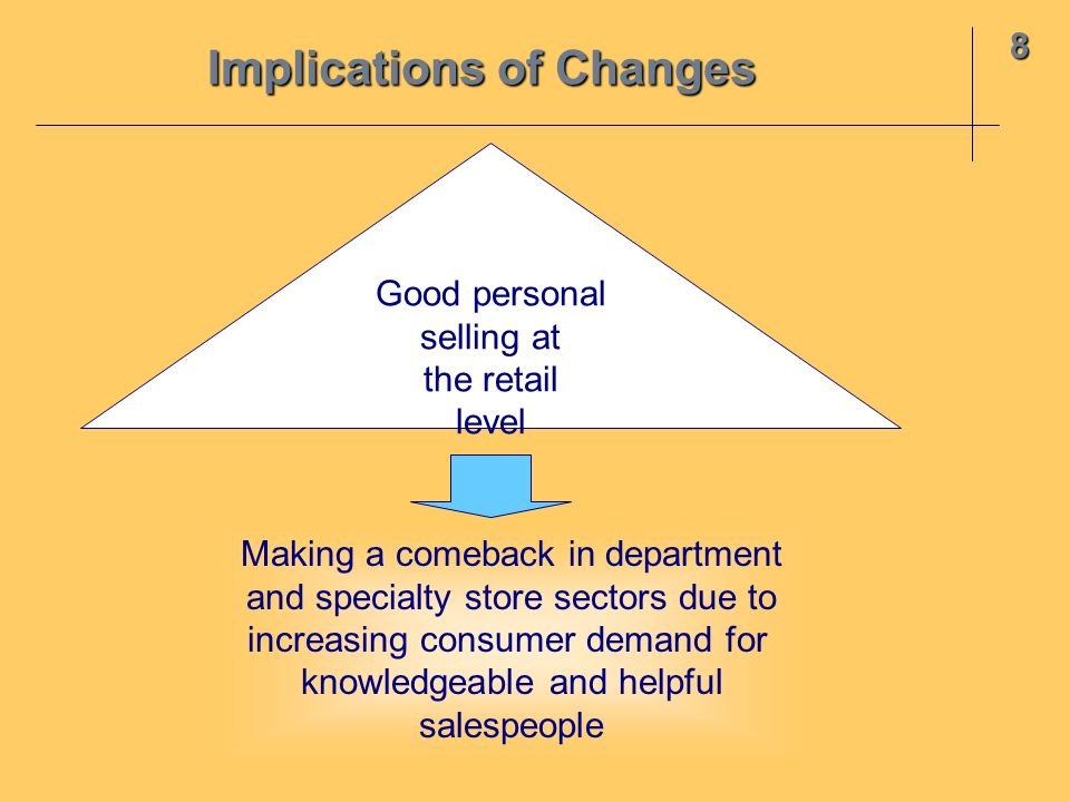 Implications of Changes 8 Good personal selling at the retail level Making a comeback in department and specialty store sectors due to increasing cons