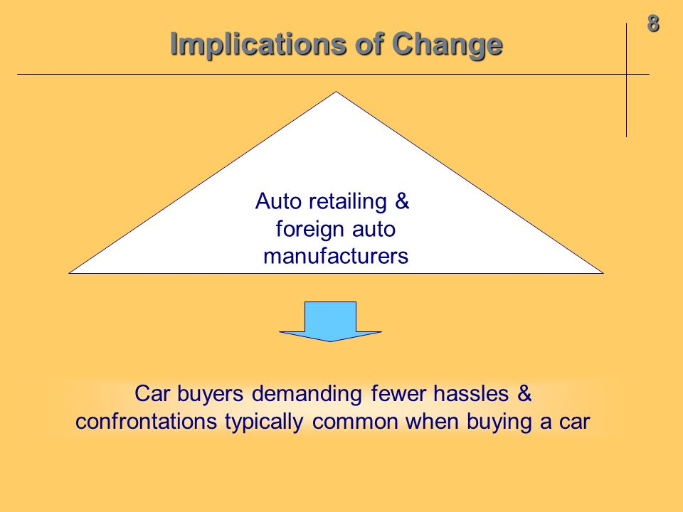 8 Auto retailing & foreign auto manufacturers Car buyers demanding fewer hassles & confrontations typically common when buying a car Implications of C