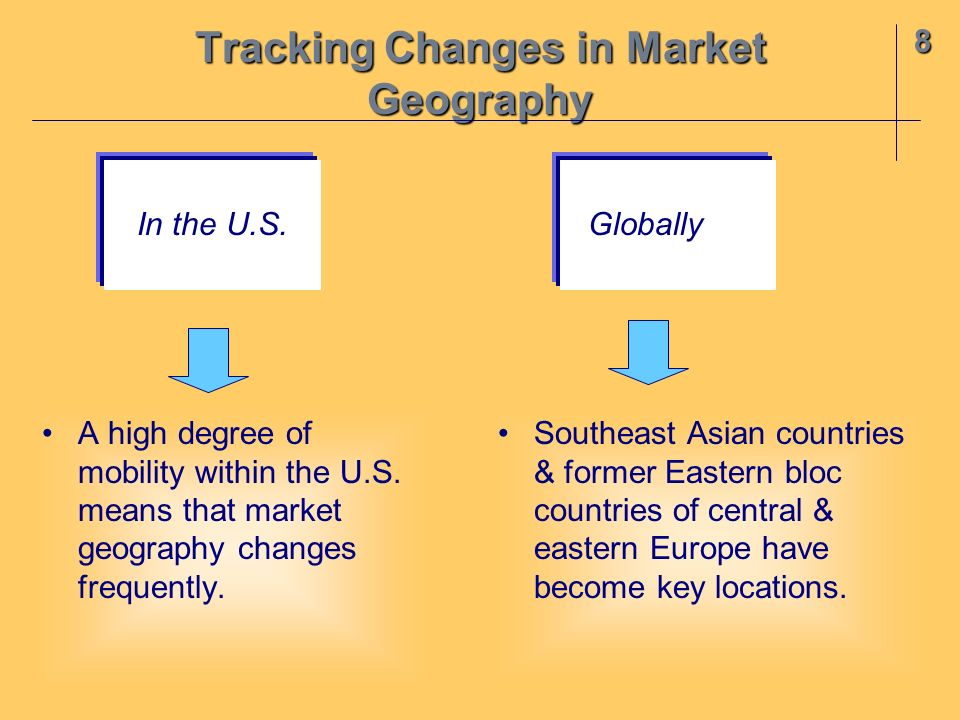 8 Tracking Changes in Market Geography A high degree of mobility within the U.S. means that market geography changes frequently. Southeast Asian count