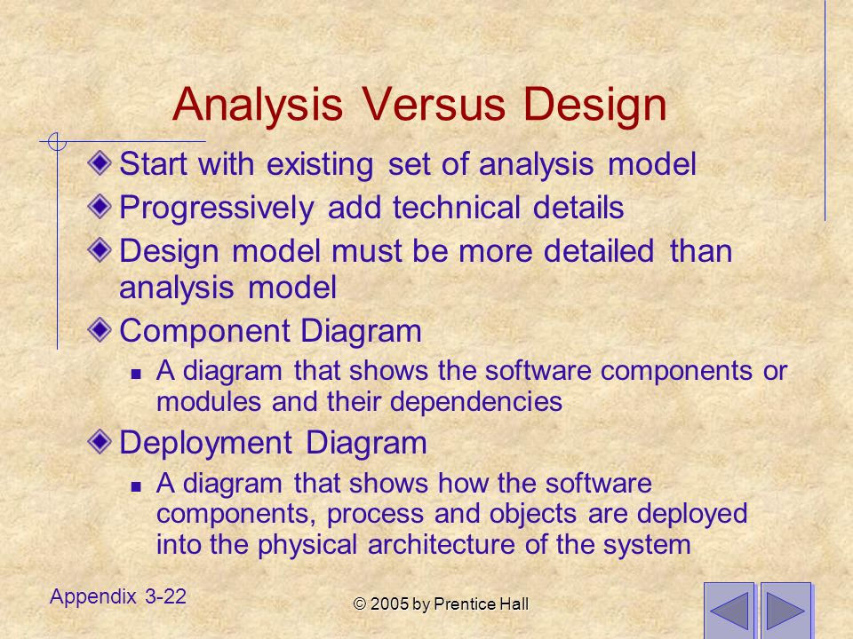 © 2005 by Prentice Hall Appendix 3-22 Analysis Versus Design Start with existing set of analysis model Progressively add technical details Design mode
