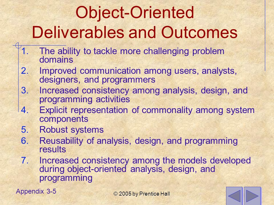 © 2005 by Prentice Hall Appendix 3-5 Object-Oriented Deliverables and Outcomes 1.The ability to tackle more challenging problem domains 2.Improved com