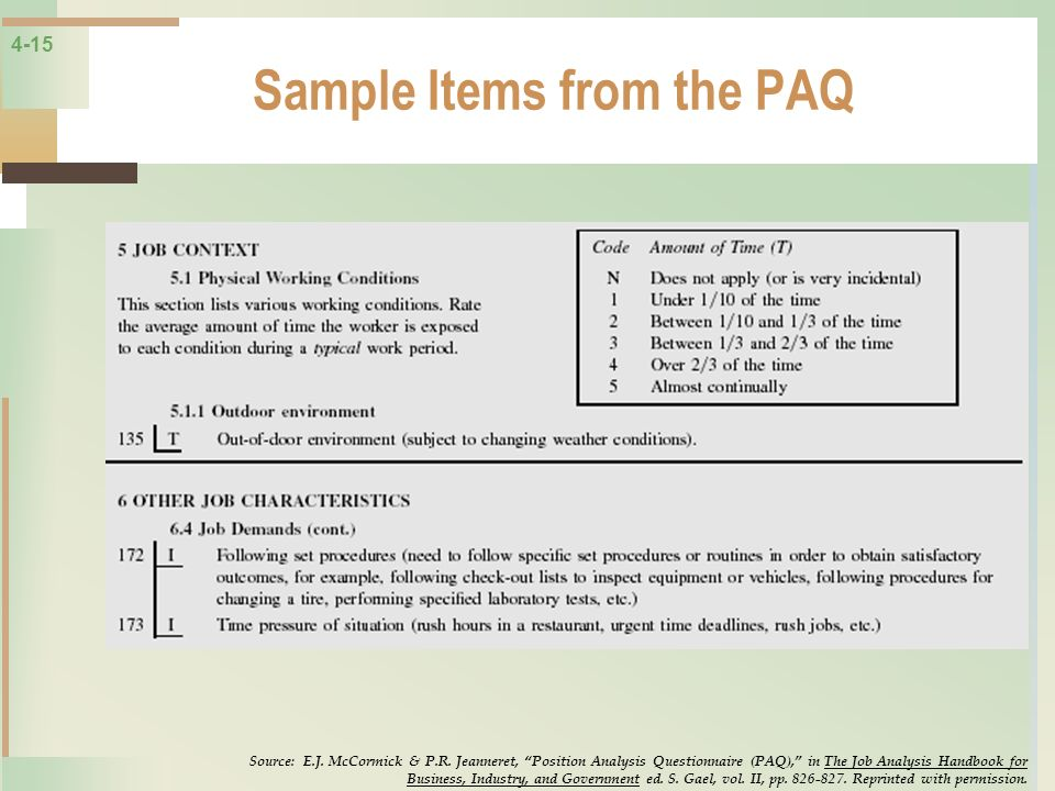 4-15 Sample Items from the PAQ Source: E.J. McCormick & P.R. Jeanneret, Position Analysis Questionnaire (PAQ), in The Job Analysis Handbook for Busine