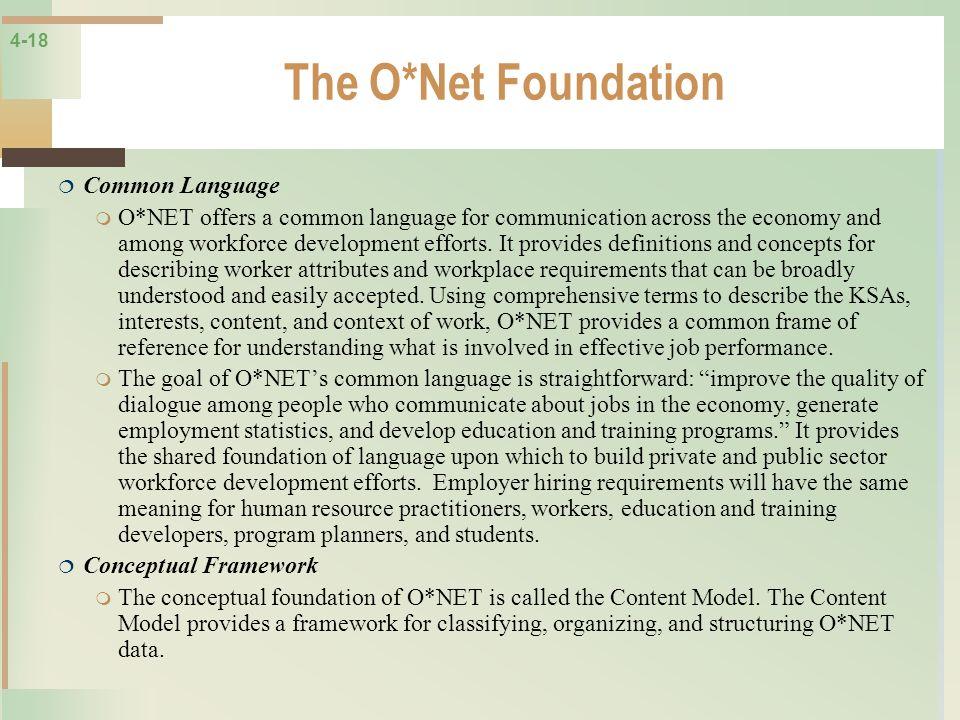 4-18 The O*Net Foundation Common Language O*NET offers a common language for communication across the economy and among workforce development efforts.