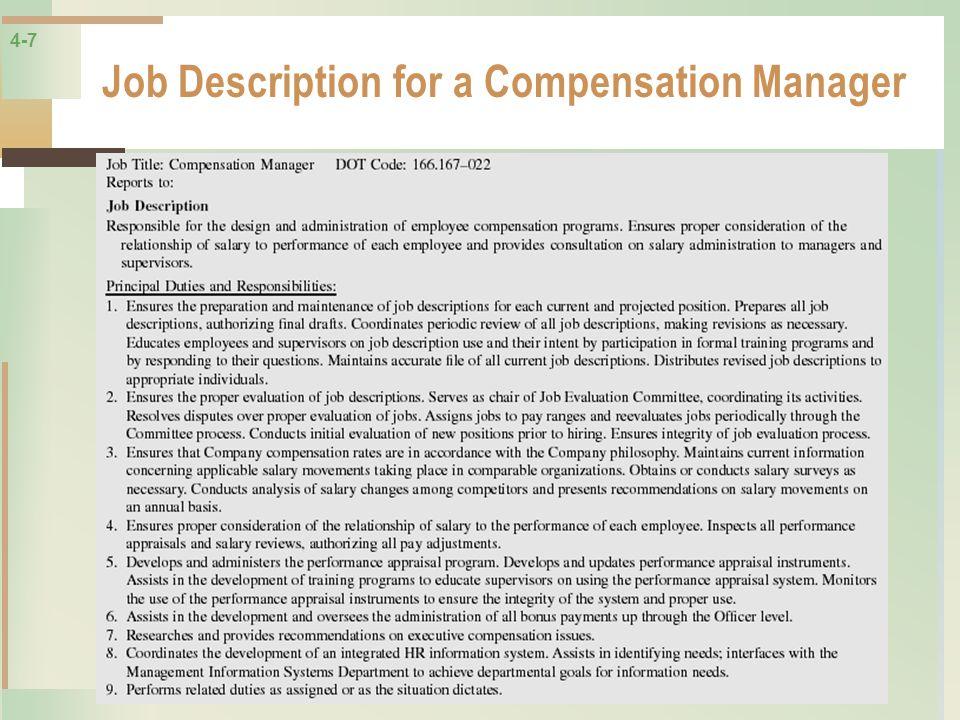 4-7 Job Description for a Compensation Manager