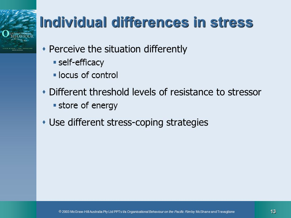 2003 McGraw-Hill Australia Pty Ltd PPTs t/a Organisational Behaviour on the Pacific Rim by McShane and Travaglione 13 Individual differences in stress