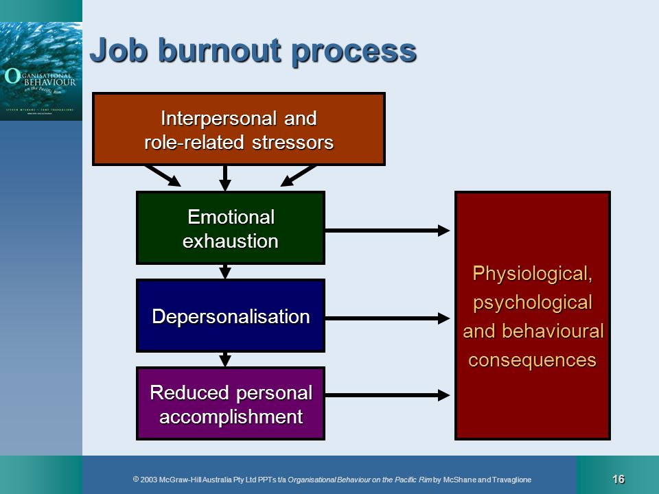 2003 McGraw-Hill Australia Pty Ltd PPTs t/a Organisational Behaviour on the Pacific Rim by McShane and Travaglione 16 Job burnout process Depersonalis