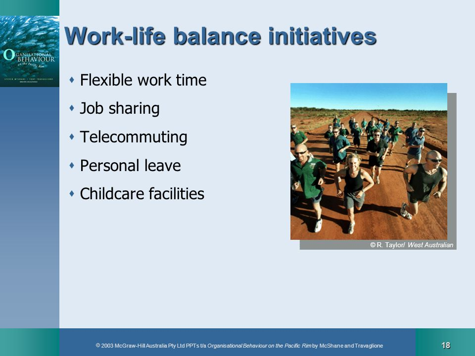 2003 McGraw-Hill Australia Pty Ltd PPTs t/a Organisational Behaviour on the Pacific Rim by McShane and Travaglione 18 Work-life balance initiatives Fl
