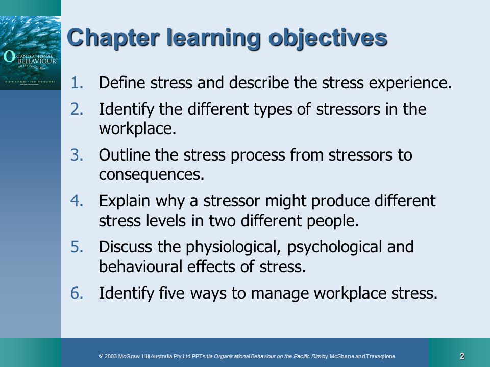 2003 McGraw-Hill Australia Pty Ltd PPTs t/a Organisational Behaviour on the Pacific Rim by McShane and Travaglione 2 Chapter learning objectives 1.Def