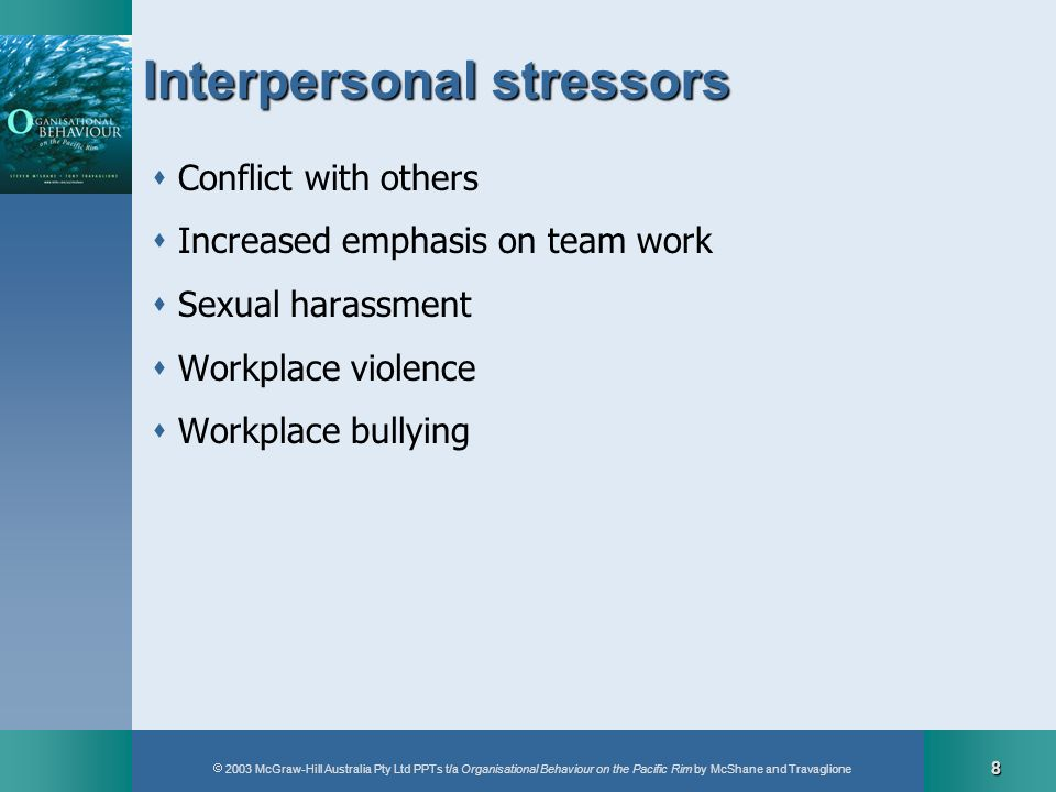 2003 McGraw-Hill Australia Pty Ltd PPTs t/a Organisational Behaviour on the Pacific Rim by McShane and Travaglione 8 Interpersonal stressors Conflict