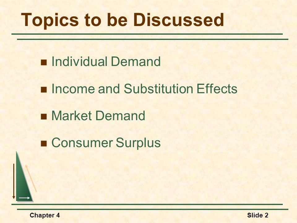 Chapter 4Slide 33 Food (units per month) O R Clothing (units per month) F1F1 SF2F2 T A U1U1 E Substitution Effect D Total Effect Since food is an inferior good, the income effect is negative.