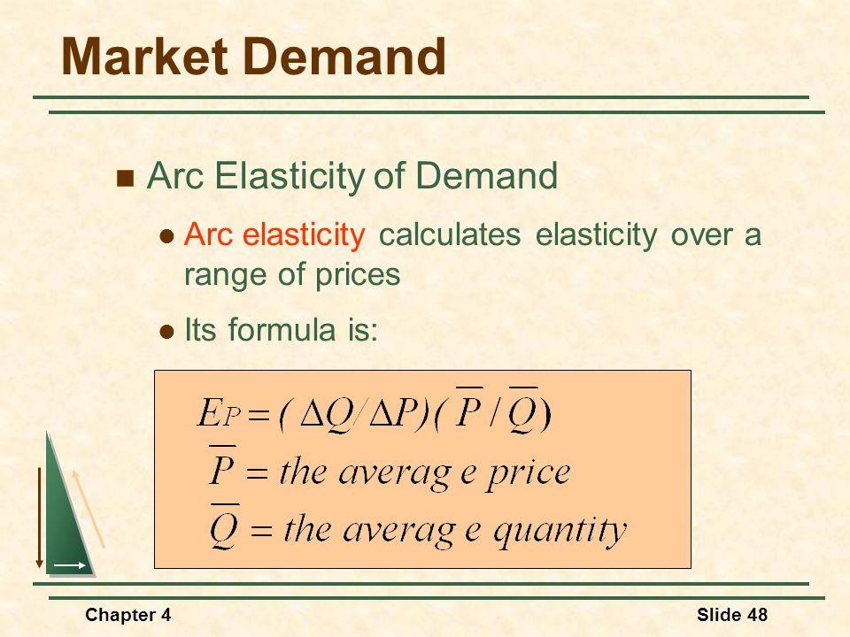 Chapter 4Slide 48 Market Demand Arc Elasticity of Demand Arc elasticity calculates elasticity over a range of prices Its formula is: