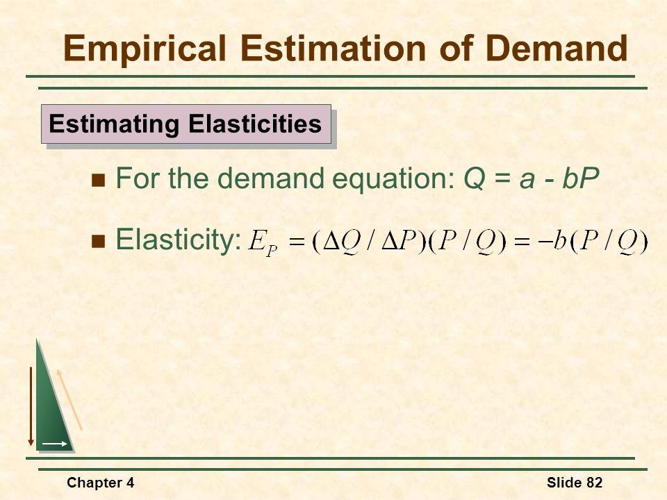 Chapter 4Slide 82 For the demand equation: Q = a - bP Elasticity: Empirical Estimation of Demand Estimating Elasticities