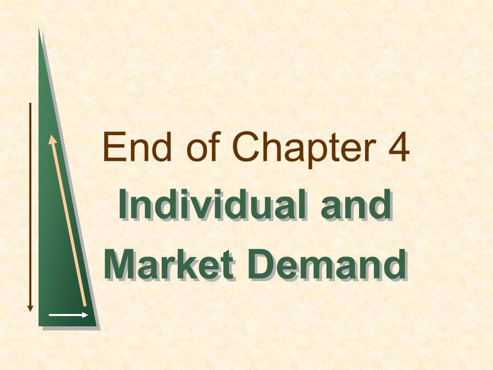 End of Chapter 4 Individual and Market Demand Individual and Market Demand