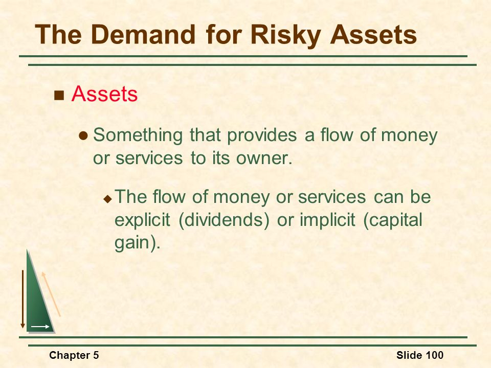 Chapter 5Slide 100 Assets Something that provides a flow of money or services to its owner. The flow of money or services can be explicit (dividends)