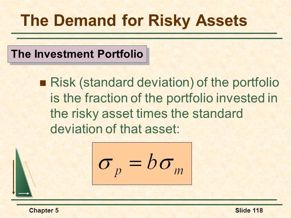 Chapter 5Slide 118 The Demand for Risky Assets Risk (standard deviation) of the portfolio is the fraction of the portfolio invested in the risky asset