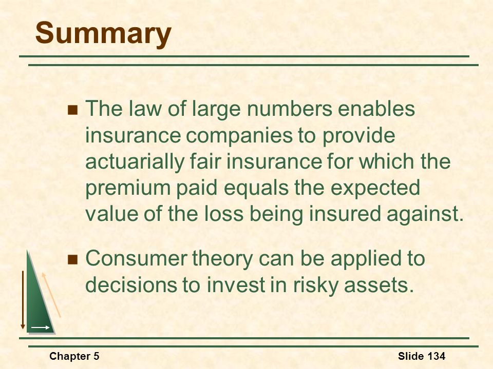 Chapter 5Slide 134 Summary The law of large numbers enables insurance companies to provide actuarially fair insurance for which the premium paid equal