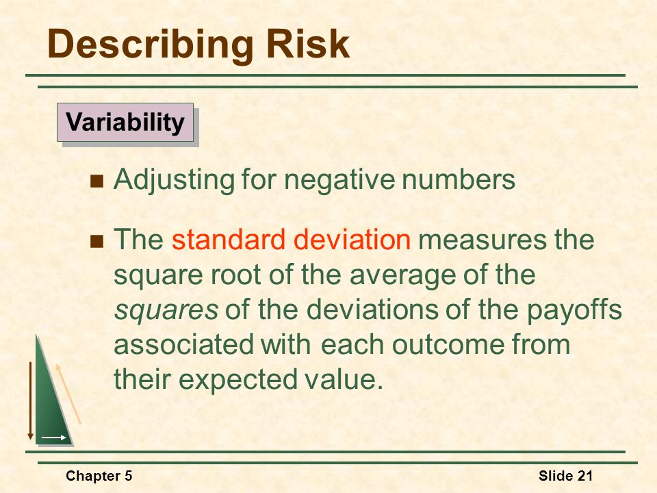 Chapter 5Slide 21 Adjusting for negative numbers The standard deviation measures the square root of the average of the squares of the deviations of th