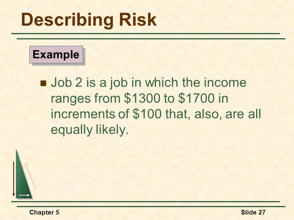 Chapter 5Slide 27 Describing Risk Job 2 is a job in which the income ranges from $1300 to $1700 in increments of $100 that, also, are all equally like