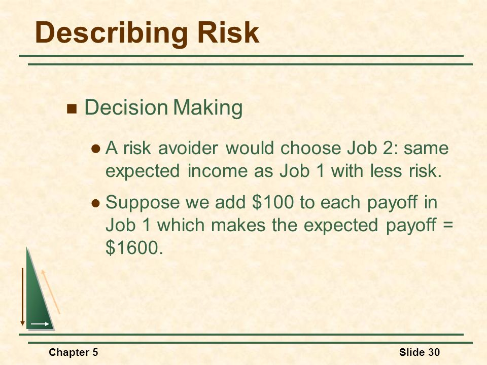Chapter 5Slide 30 Describing Risk Decision Making A risk avoider would choose Job 2: same expected income as Job 1 with less risk. Suppose we add $100