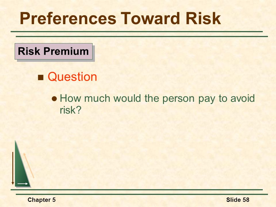 Chapter 5Slide 58 Preferences Toward Risk Question How much would the person pay to avoid risk? Risk Premium