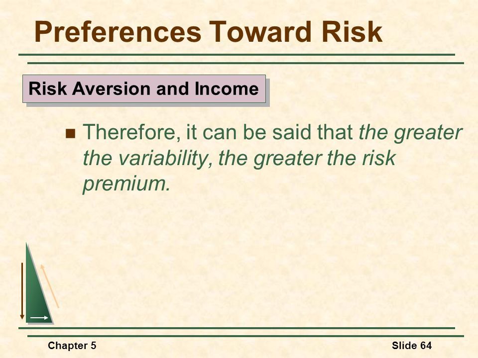 Chapter 5Slide 64 Preferences Toward Risk Therefore, it can be said that the greater the variability, the greater the risk premium. Risk Aversion and