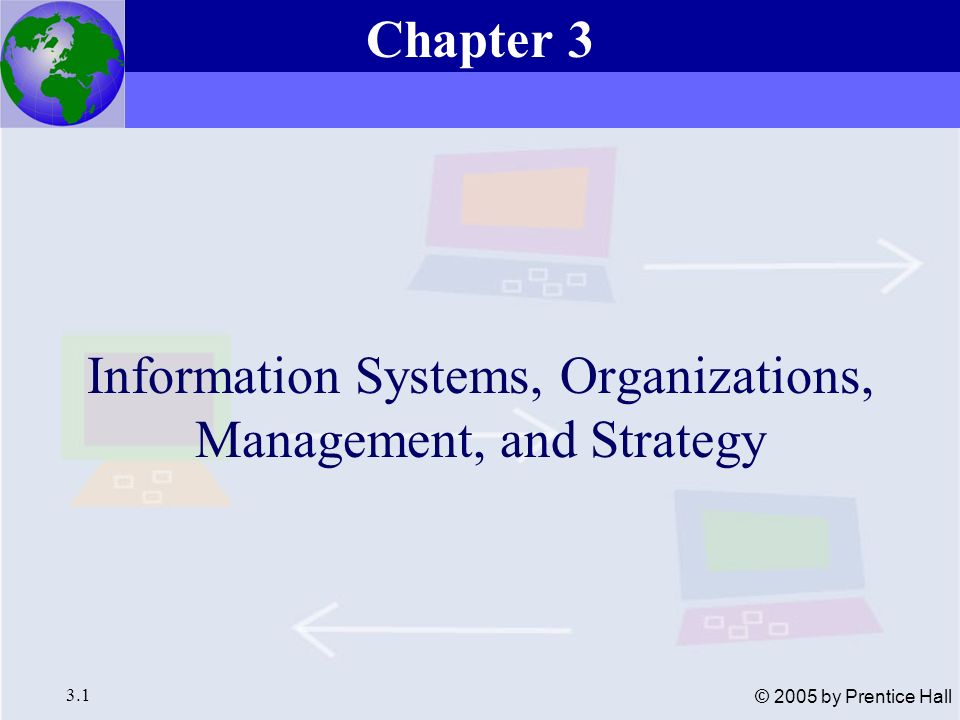 Essentials of Management Information Systems, 6e Chapter 3 Information Systems, Organizations, Management, and Strategy 3.12 © 2005 by Prentice Hall Organizations and Information Systems Environments and organizations have a reciprocal relationship Figure 3-4