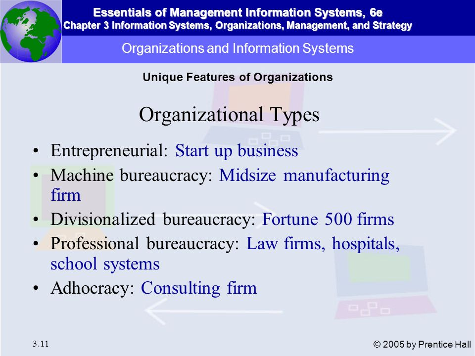 Essentials of Management Information Systems, 6e Chapter 3 Information Systems, Organizations, Management, and Strategy 3.11 © 2005 by Prentice Hall O