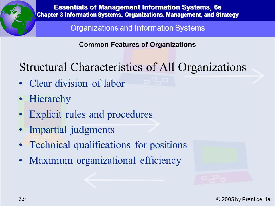 Essentials of Management Information Systems, 6e Chapter 3 Information Systems, Organizations, Management, and Strategy 3.40 © 2005 by Prentice Hall Value Chain Model Firm seen as series or chain of activities that add a margin of value to firms products or services Highlights activities in business where competitive strategies are best applied Primary or support activities Firms value chain linked to value chains of other partners Information Systems and Business Strategy Business-Level Strategy and the Value Chain Model
