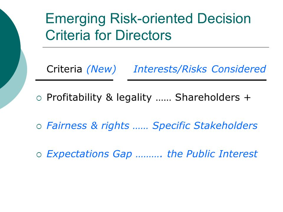 Emerging Risk-oriented Decision Criteria for Directors Criteria (New) Interests/Risks Considered Profitability & legality …… Shareholders + Fairness & rights …… Specific Stakeholders Expectations Gap ……….
